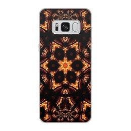 """Чехол для Samsung Galaxy S8, объёмная печать """"Голос Огня"""" - огонь, абстракция, фрактал, спектр, золотое на черном"""
