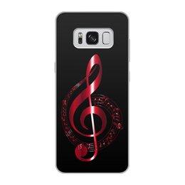 """Чехол для Samsung Galaxy S8, объёмная печать """"МУЗЫКА"""" - скрипичный ключ, нотный знак, стиль эксклюзив креатив красота яркость, арт фэнтези"""