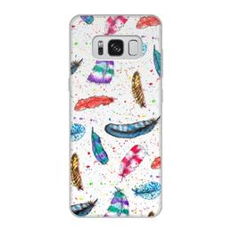 """Чехол для Samsung Galaxy S8, объёмная печать """"Перья"""" - перья, пятна, птицы, рисунок, синий"""