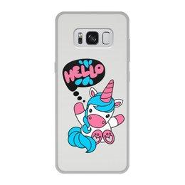 """Чехол для Samsung Galaxy S8, объёмная печать """"Unicorn"""" - привет, надпись, голубой, розовый, единорог"""