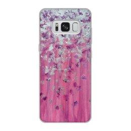 """Чехол для Samsung Galaxy S8, объёмная печать """"Розовое настроение"""" - любовь, розовый, нежность, серебро, женское"""