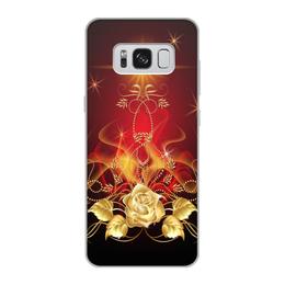 """Чехол для Samsung Galaxy S8, объёмная печать """"Золотая роза"""" - цветок, роза"""