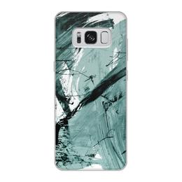 """Чехол для Samsung Galaxy S8, объёмная печать """"волна"""" - голубой, волна, краски, хаос"""