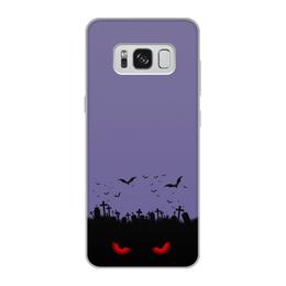 """Чехол для Samsung Galaxy S8, объёмная печать """"Взгляд оттуда"""" - хэллоуин, рисунок, взгляд, летучие мыши, кладбище"""