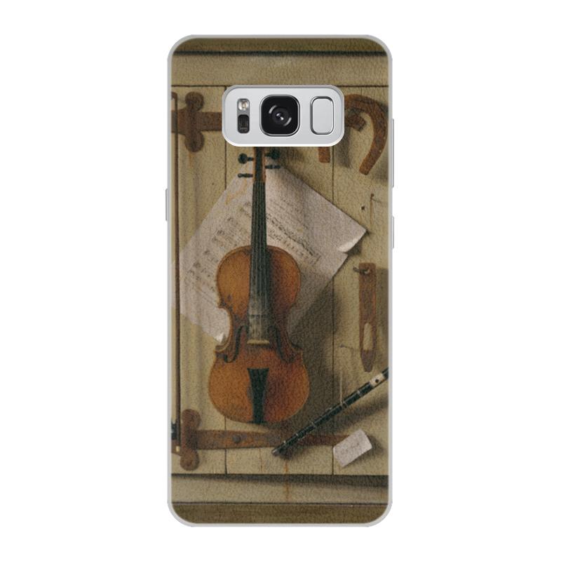 Чехол для Samsung Galaxy S8 кожаный Printio Натюрморт со скрипкой (уильям харнетт) пазл castor land 68 47см натюрморт со скрипкой и живописью 1000эл