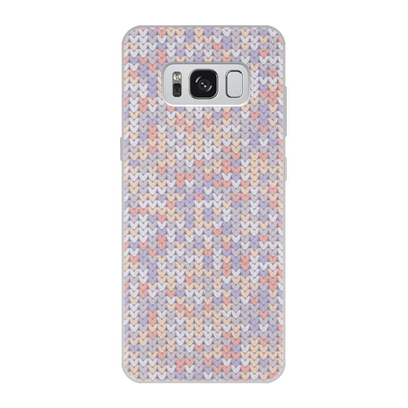 Чехол для Samsung Galaxy S8 кожаный Printio Сиреневый вязаный узор