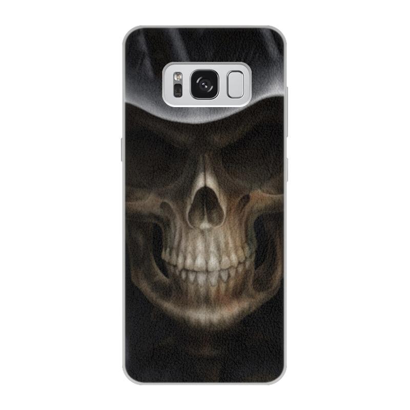 Чехол для Samsung Galaxy S8 кожаный Printio Череп в капюшоне чехол для samsung galaxy s5 printio череп в капюшоне