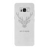 """Чехол для Samsung Galaxy S8 кожаный """"Dear Deer"""" - рисунок, дизайн, олень, минимализм, рога"""