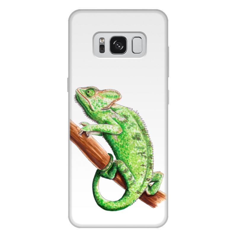 Чехол для Samsung Galaxy S8 Plus, объёмная печать Printio Зеленый хамелеон на ветке чехол для карточек хамелеон с узорами дк2017 111