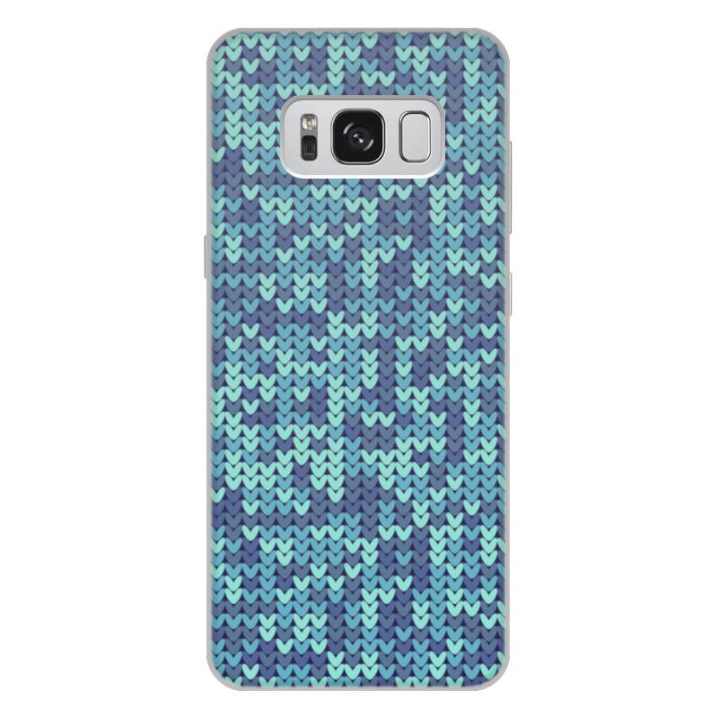Чехол для Samsung Galaxy S8 Plus, объёмная печать Printio Голубой вязаный узор