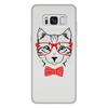 """Чехол для Samsung Galaxy S8 Plus, объёмная печать """"Кошка"""" - кошка, бабочка, красный, очки, cat"""