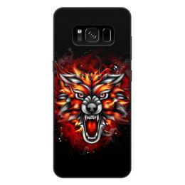 "Чехол для Samsung Galaxy S8 Plus, объёмная печать ""Wolf & Fire"" - огонь, волк, fire, дым, wolf"