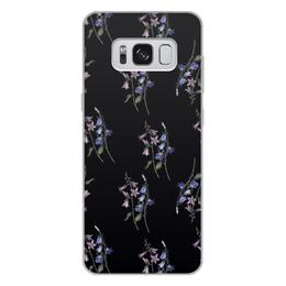 """Чехол для Samsung Galaxy S8 Plus, объёмная печать """"Black watercolor"""" - цветы, черный, акварель, колокольчики"""