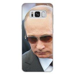 """Чехол для Samsung Galaxy S8 Plus, объёмная печать """"ПУТИН. ПОЛИТИКА"""" - арт, стиль, очки, россия, президент"""
