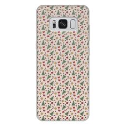 """Чехол для Samsung Galaxy S8 Plus, объёмная печать """"Праздник"""" - сердце, звезды, снег, игрушки, елки"""