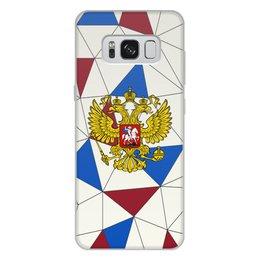 """Чехол для Samsung Galaxy S8 Plus, объёмная печать """"Без названия"""" - русский, россия, герб, орел, флаг"""