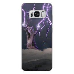 """Чехол для Samsung Galaxy S8 Plus, объёмная печать """"Кот Тесла"""" - мем, гроза, cat, котик, молния"""