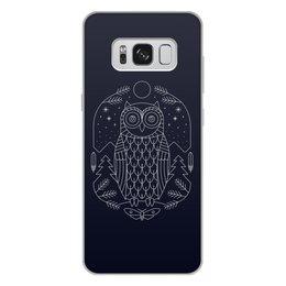 """Чехол для Samsung Galaxy S8 Plus, объёмная печать """"Ночной страж"""" - ночь, сова, геометрия, минимализм, страж"""