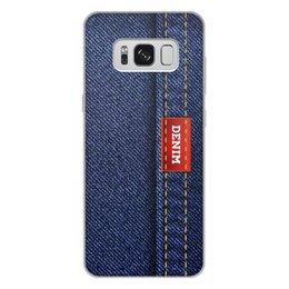 """Чехол для Samsung Galaxy S8 Plus, объёмная печать """"Джинсовый арт"""" - абстракция, джинсы, ткань, jeans, denim"""