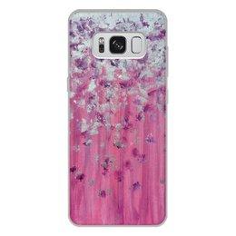 """Чехол для Samsung Galaxy S8 Plus, объёмная печать """"Розовое настроение"""" - любовь, розовый, нежность, серебро, женское"""