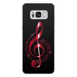 """Чехол для Samsung Galaxy S8 Plus, объёмная печать """"МУЗЫКА"""" - скрипичный ключ, нотный знак, стиль эксклюзив креатив красота яркость, арт фэнтези"""