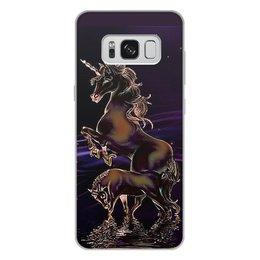 """Чехол для Samsung Galaxy S8 Plus, объёмная печать """"ЕДИНОРОГ"""" - стиль, красота, вода, фэнтези, звездное небо"""