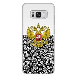 """Чехол для Samsung Galaxy S8 Plus, объёмная печать """"Цветы и герб"""" - цветы, россия, герб, орел, хохлома"""