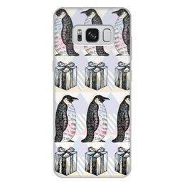 """Чехол для Samsung Galaxy S8 Plus, объёмная печать """"пингвины"""" - новый год, пингвины, зима, птицы, подарки"""