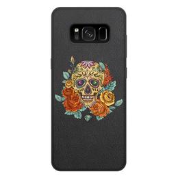 """Чехол для Samsung Galaxy S8 Plus, объёмная печать """"Череп"""" - skull, череп, цветы"""
