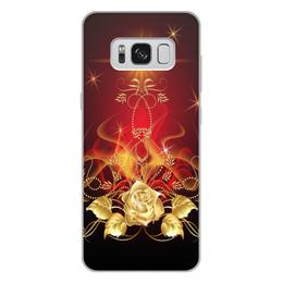"""Чехол для Samsung Galaxy S8 Plus, объёмная печать """"Золотая роза"""" - цветок, роза"""