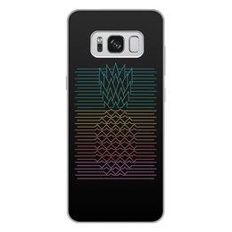 """Чехол для Samsung Galaxy S8 Plus, объёмная печать """"Неоновый ананас """" - фрукты, ананас, неон, минимализм, линии"""