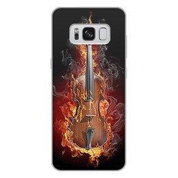 """Чехол для Samsung Galaxy S8 Plus, объёмная печать """"МУЗЫКА ФЭНТЕЗИ"""" - огонь, скрипка, красота, яркость, стиль"""