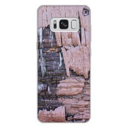 """Чехол для Samsung Galaxy S8 Plus, объёмная печать """"Деревянный"""" - оригинальный, деревянный, амбарная доска"""