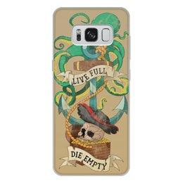 """Чехол для Samsung Galaxy S8 Plus, объёмная печать """"Осьминог"""" - череп, old school, пират, якорь, татуировка"""