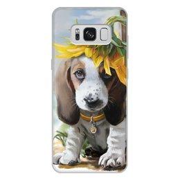 "Чехол для Samsung Galaxy S8 Plus, объёмная печать ""Собака"" - цветок, собака, животное"