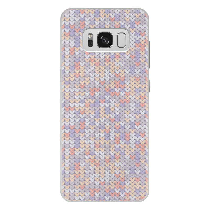 Чехол для Samsung Galaxy S8 Plus кожаный Printio Сиреневый вязаный узор