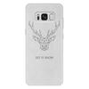 """Чехол для Samsung Galaxy S8 Plus кожаный """"Dear Deer"""" - рисунок, дизайн, олень, минимализм, рога"""