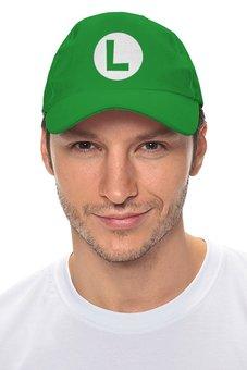 """Кепка """"Luigi logo"""" - nintendo, марио, супермарио, snes"""