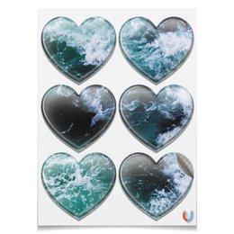 "Магниты-сердца 7.5x9.7см ""Бескрайнее море"" - море, spray, креветки, flow, бескрайнее море"