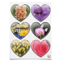"""Магниты-сердца 7.5x9.7см """"Цветочная фантазия."""" - цветы, роза, гладиолус, тюльпан, пион"""