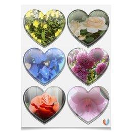 """Магниты-сердца 7.5x9.7см """"Яркий цветник."""" - цветы, розы, гладиолус, георгины, яркий цветник"""