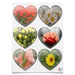 """Магниты-сердца 7.5x9.7см """"Цветущие сердца."""" - цветы, роза, ромашки, тюльпаны, гладиолус"""