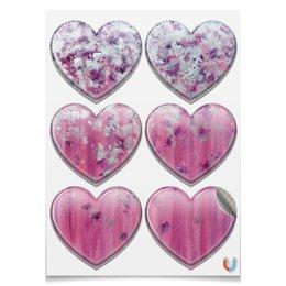 """Магниты-сердца 7.5x9.7см """"Розовое настроение"""" - любовь, розовый, нежность, серебро, женское"""