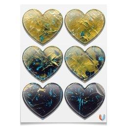 """Магниты-сердца 7.5x9.7см """"Abstract"""" - картина, разводы, абстракция, живопись, флюид"""