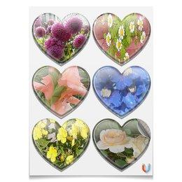 """Магниты-сердца 7.5x9.7см """"Цветущие сердца."""" - цветы, роза, ромашки, гладиолус, георгины"""