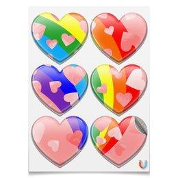 """Магниты-сердца 7.5x9.7см """"Настроение - радуга."""" - радуга, счастье, радость, розовый, краски"""