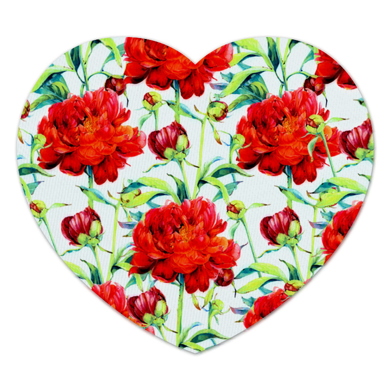 Коврик для мышки (сердце) Printio Цветочки