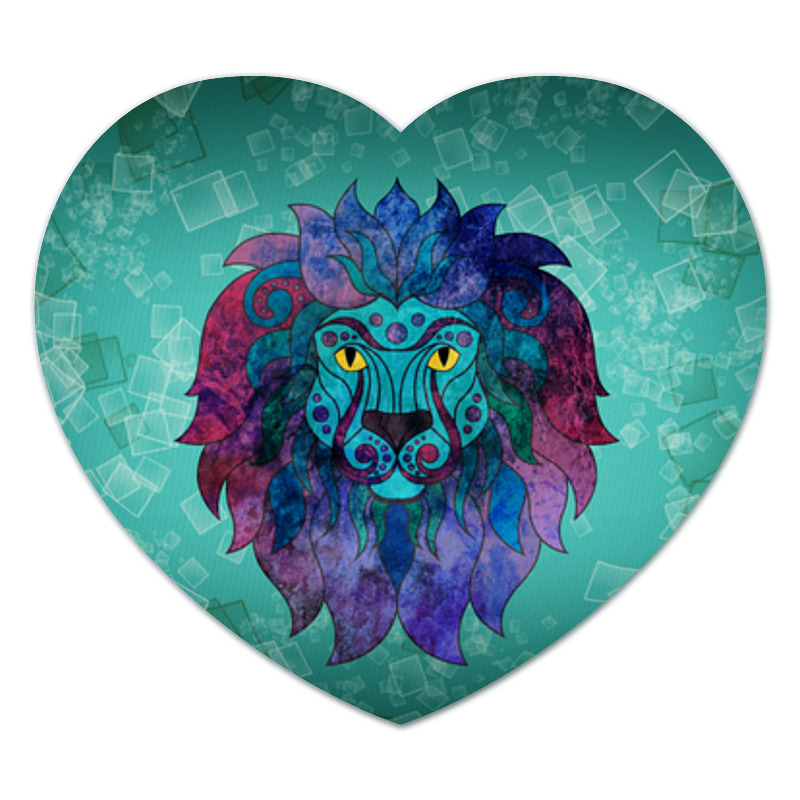 Коврик для мышки (сердце) Printio Яркий лев фантазер плюшевое сердце розовый лев