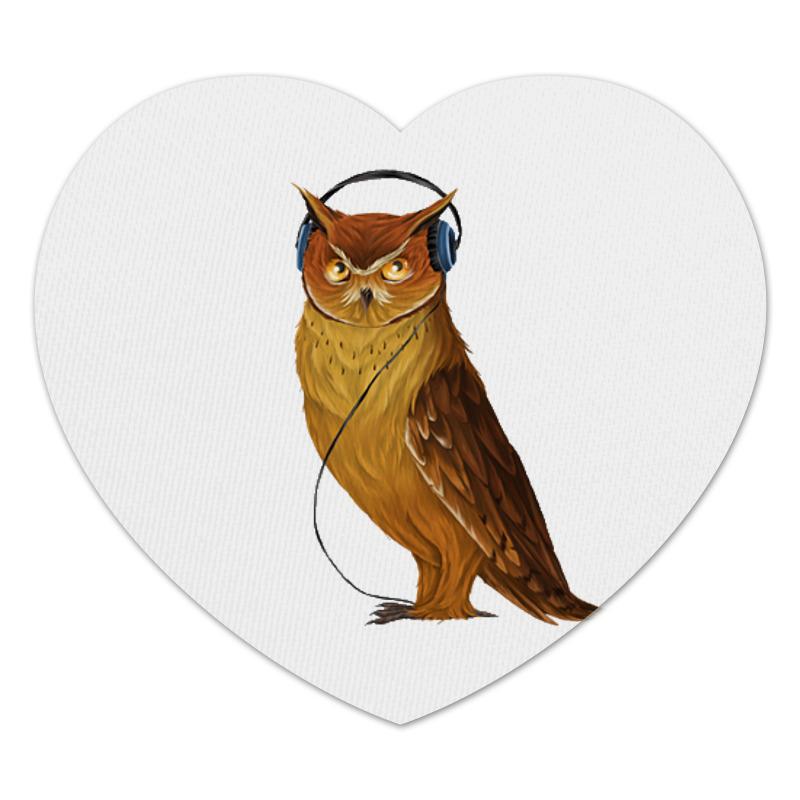 Коврик для мышки (сердце) Сова в наушниках