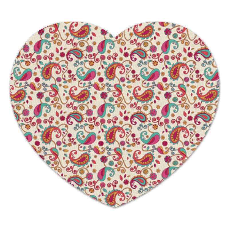 Коврик для мышки (сердце) Printio Пейсли (яркий) коврик для мышки printio разноцветные пейсли индийский огурец